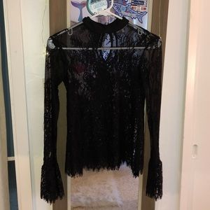 nordstrom long sleeve see thru lace mesh blouse
